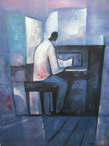 Piano Player Artist Signed by William Tolliver Image is watermarked for copyright protection and is not present on the actual art work.