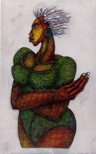 Woman With White Hair #2 Giclee by Charles Bibbs Image is watermarked for copyright protection and is not present on the actual art work.