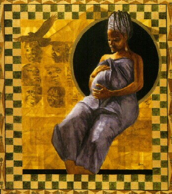 Message To My Unborn King by Alonzo Adams Image is watermarked for copyright protection and is not present on the actual art work.