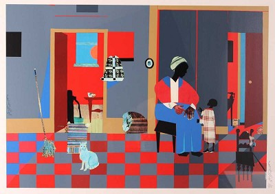 Early Carolina Morning - Serigraph by Romare Bearden Image is watermarked for copyright protection and is not present on the actual art work.