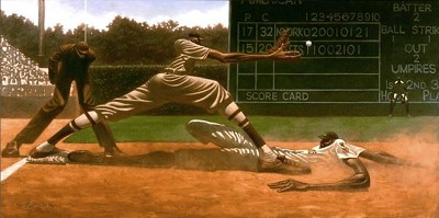 Coooool Papa Bell Remarque by Kadir Nelson Image is watermarked for copyright protection and is not present on the actual art work.