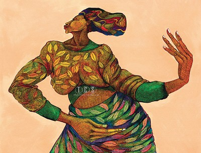 Dancing Hands Remarque  (color) Giclee by Charles Bibbs Image is watermarked for copyright protection and is not present on the actual art work.