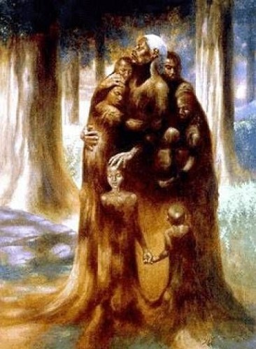 The Family Tree Remarque by Kadir Nelson Image is watermarked for copyright protection and is not present on the actual art work.