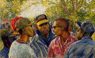 Homeboys by Brenda Joysmith Image is watermarked for copyright protection and is not present on the actual art work.