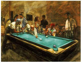 House Of Players Giclee by Alonzo Adams Image is watermarked for copyright protection and is not present on the actual art work.