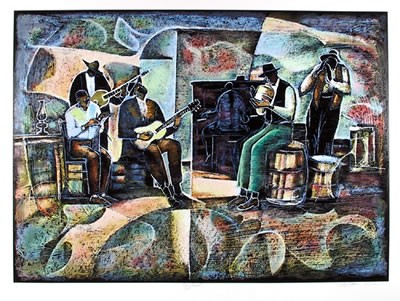 Jug Band Signed By Artist Serigraph by William Tolliver Image is watermarked for copyright protection and is not present on the actual art work.