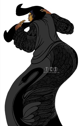 Lady In Black Giclee with Remarque by Charles Bibbs Image is watermarked for copyright protection and is not present on the actual art work.