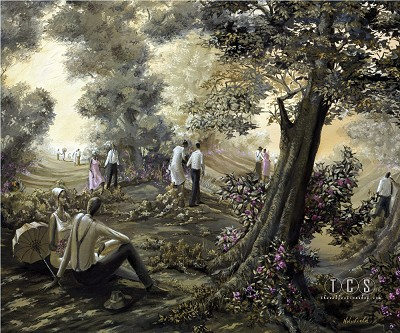 Lover's Lane by John Holyfield Image is watermarked for copyright protection and is not present on the actual art work.