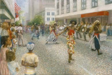 An American Parade by Brenda Joysmith Image is watermarked for copyright protection and is not present on the actual art work.