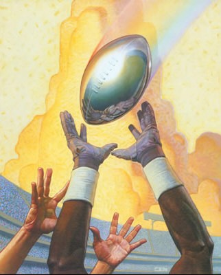 Super Bowl XxxvII Commemorative Poster by Thomas Blackshear Image is watermarked for copyright protection and is not present on the actual art work.