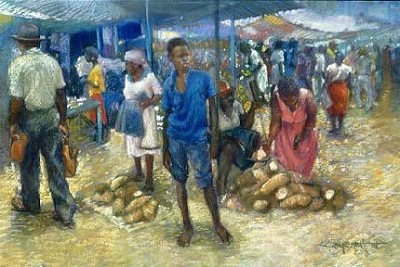 Sav Market Blue Giclee by Brenda Joysmith Image is watermarked for copyright protection and is not present on the actual art work.
