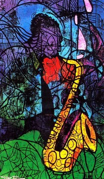 Sax Artist Signed Lithograph by William Tolliver Image is watermarked for copyright protection and is not present on the actual art work.