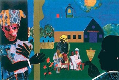 School Bell Time - Serigraph by Romare Bearden Image is watermarked for copyright protection and is not present on the actual art work.