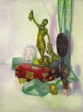 Still Life With Brass Hunter Seriagraph by Brenda Joysmith Image is watermarked for copyright protection and is not present on the actual art work.