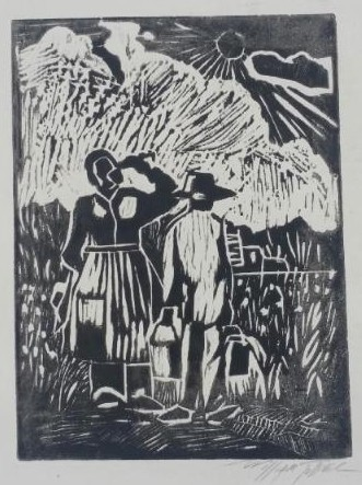 Field Workers Woodcut Paper Artist Signed by William Tolliver Image is watermarked for copyright protection and is not present on the actual art work.