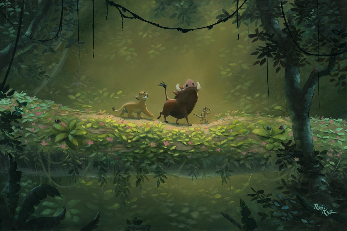 Rob Kaz No Worries From Disney The Lion King Hand Embellished Giclee On Canvas Disney Fine Art