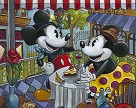 Caf� Mickey Hand-Textured Giclee on Canvas