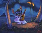 Elvis Stitch Hand Embellished Giclee on Canvas - From Disney Lilo and Stitch