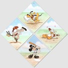 Hit Duck Run 4 Piece Set Giclee on Canvas