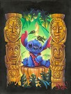Tiki Trouble Hand Embellished Giclee on Canvas - From Disney Lilo and Stitch