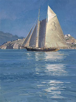 Christopher Blossom Pilot Schooner Gracie S. Becalmed off Alcatraz Canvas