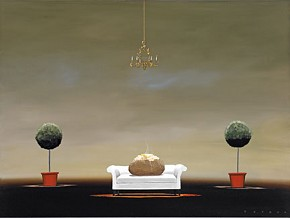 Robert Deyber The Couch Potato hand-crafted stone lithograph