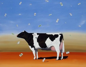 Robert Deyber Cash Cow hand-crafted stone lithograph