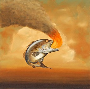 Robert Deyber Like A Fish Out Of Water hand-crafted stone lithograph