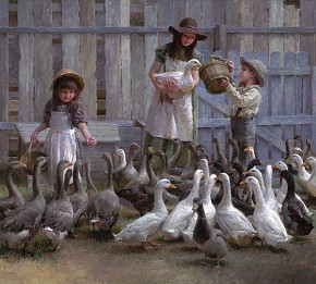 Morgan Westling Feeding The Geese Limited Edition Canvas