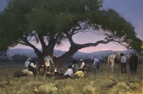 Bill Anton Twilight At Cottonwood Camp By Bill Anton Giclee On Canvas  Signed & Numbered