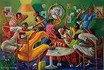 Room Ful'a Sistahs-Signed by Ernie Barnes Image is watermarked for copyright protection and is not present on the actual art work.