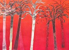 Red Forest I by Gamboa Image is watermarked for copyright protection and is not present on the actual art work.