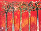 Red Forest II by Gamboa Image is watermarked for copyright protection and is not present on the actual art work.