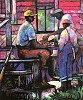 Afternoon Checkers Estate Certified Lithograph by William Tolliver Image is watermarked for copyright protection and is not present on the actual art work.
