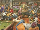 Phat Daddys Pool Hall Giclee by Frank Morrison Image is watermarked for copyright protection and is not present on the actual art work.