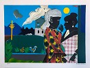Conversation Artist Signed by Romare Bearden Image is watermarked for copyright protection and is not present on the actual art work.