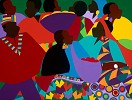 Masekelas Marketplace Congo by Synthia SAINT JAMES Image is watermarked for copyright protection and is not present on the actual art work.