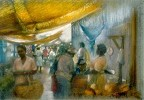 Canopies At Sav Market Giclee by Brenda Joysmith Image is watermarked for copyright protection and is not present on the actual art work.