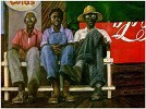 Men On The Bench by Brenda Joysmith Image is watermarked for copyright protection and is not present on the actual art work.