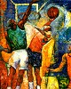 Slam Dunk Artist Signed Serigraph by William Tolliver Image is watermarked for copyright protection and is not present on the actual art work.