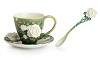 Van Gogh White roses flower cup/saucer/spoon set