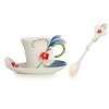 Graceful orchid flower cup/saucer/spoon set