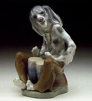 Lladro-Dog Playing Bongos
