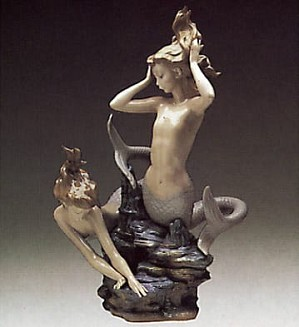 Lladro-Mermaids Playing