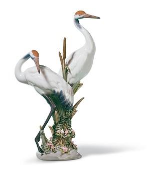 Lladro-Courting Cranes