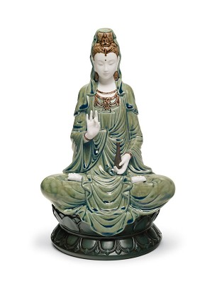 Lladro-Kwan Yin Figurine Green