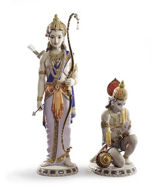 Lladro-Lakshman and Hanuman