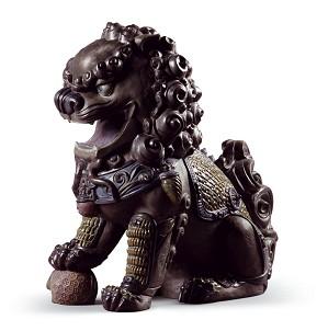 Lladro-Oriental Lion (Black)