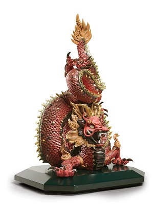Lladro-Protective Dragon - Golden Luster and Red