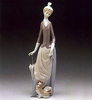 Lladro-Woman with Dog